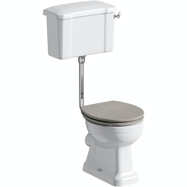 The Bath Co. Camberley low level toilet with wooden soft close seat grey oak effect