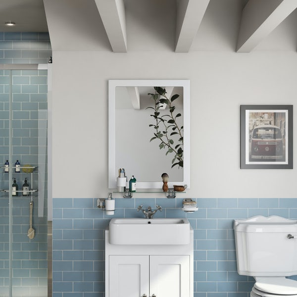 The Bath Co. Dulwich matt white bathroom mirror 800 x 600mm
