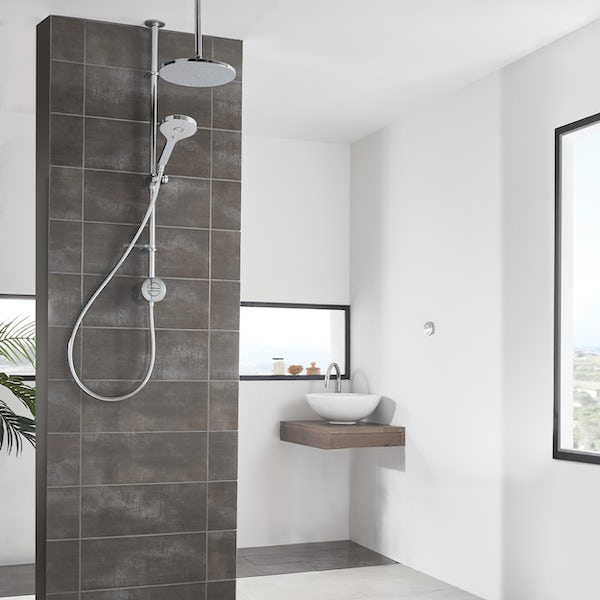 Aqualisa Unity Q Smart exposed shower standard with adjustable handset and ceiling head