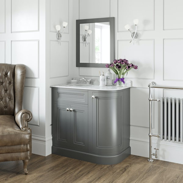 The Bath Co. Chartham slate grey right handed floorstanding vanity unit and white marble basin 900mm