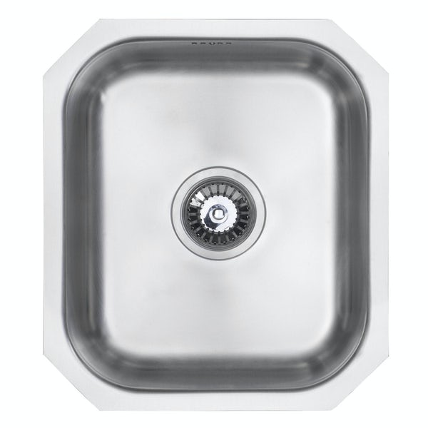 Schon Rydal classic compact undermount single bowl stainless steel kitchen sink with waste