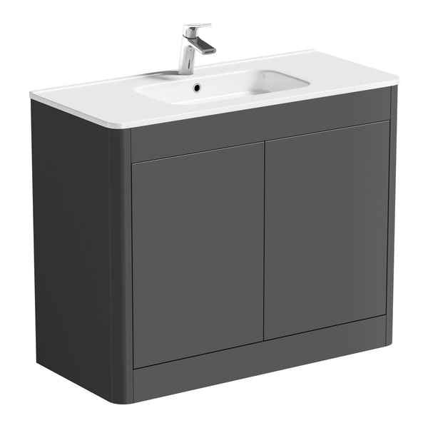 Mode Carter slate gloss grey floorstanding vanity unit and ceramic basin 1000mm