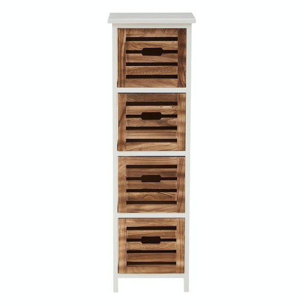 Portsmouth wooden 4 drawer storage unit in white & natural finish