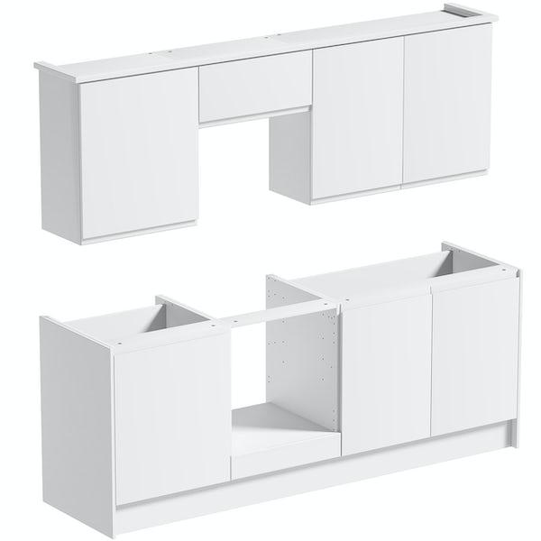 Schon Chicago white slab kitchen base and wall unit bundle