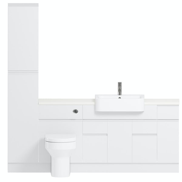 Reeves Wharfe white straight medium storage fitted furniture pack with white worktop