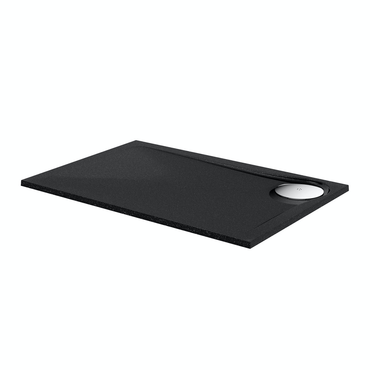 Black granite effect left handed rectangular stone shower tray 1200 x 800