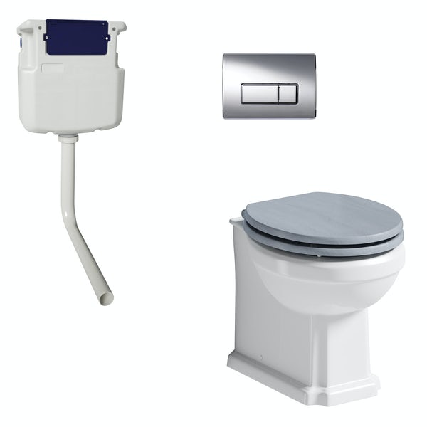 The Bath Co. Traditional back to wall toilet with powder blue soft close seat, concealed cistern and push plate