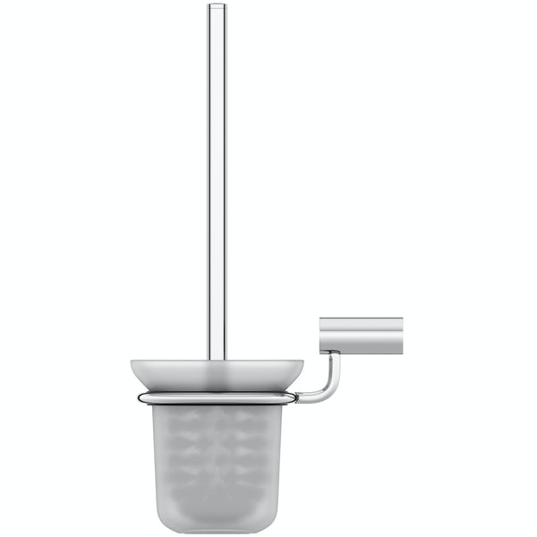 Clarity toilet brush and holder