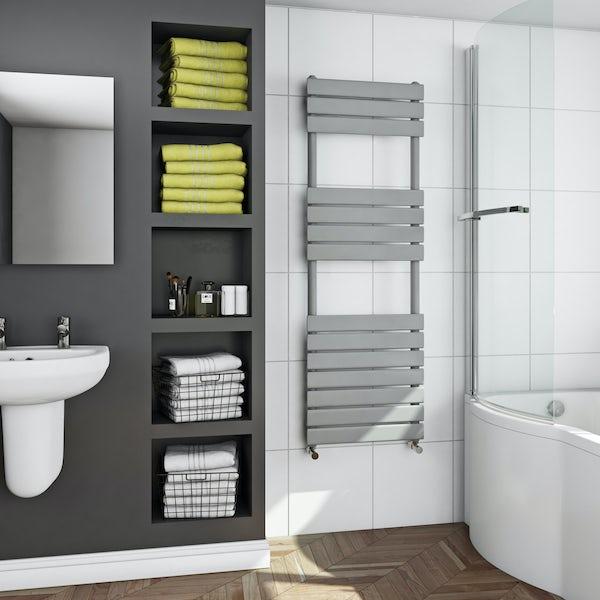 Orchard Wharfe stone grey heated towel rail 1500 x 500