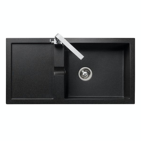 Rangemaster Cubix 1.0 bowl granite black reversible kitchen sink