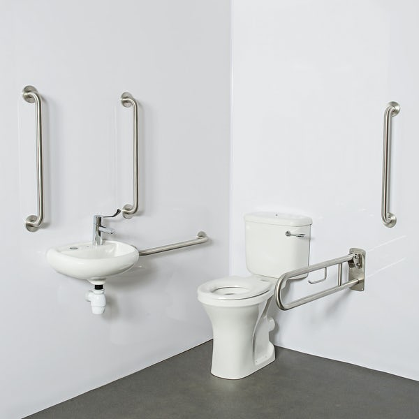 Nymas NymaPRO close coupled Doc M pack with lockable cistern lid and polished stainless steel grab rails