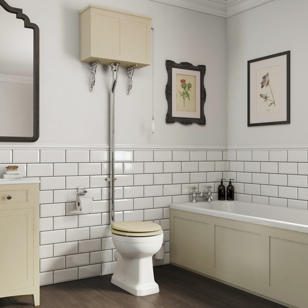 The Bath Co. Camberley high level toilet with ivory toilet box and seat