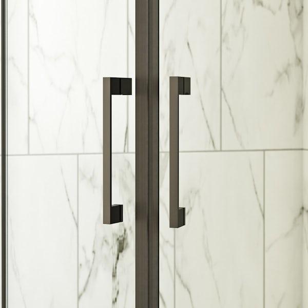 Mode Cooper black hinged quadrant shower enclosure 900 x 900