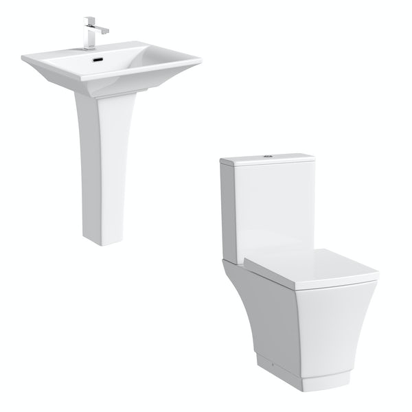 Mode Austin cloakroom suite with full pedestal basin 550mm