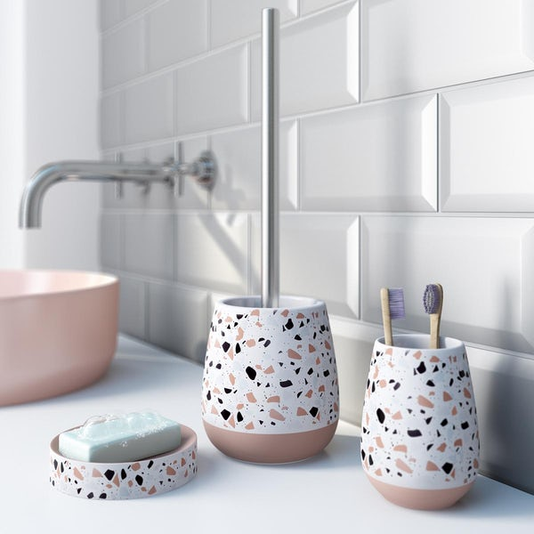 Accents Turin Terrazzo 3 piece bathroom set with soap dish