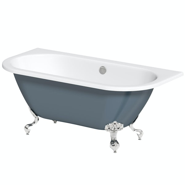 The Bath Co. Dalston province blue back to wall freestanding bath with chrome ball and claw feet