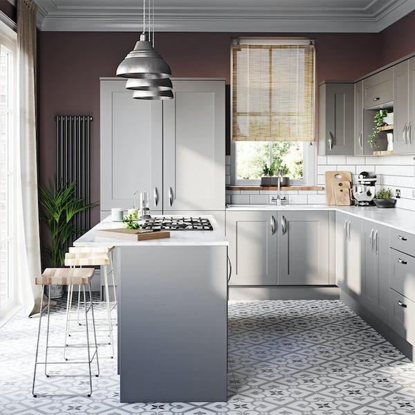 Schon New England light grey shaker 600mm corner wall unit