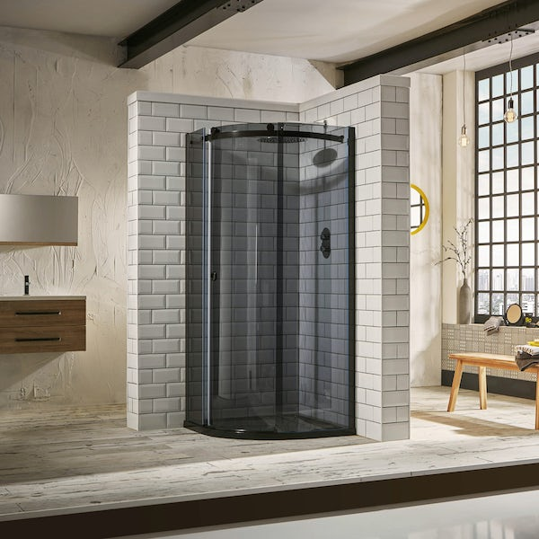 Mode 8mm luxury black left handed offset quadrant shower enclosure 1200 x 800