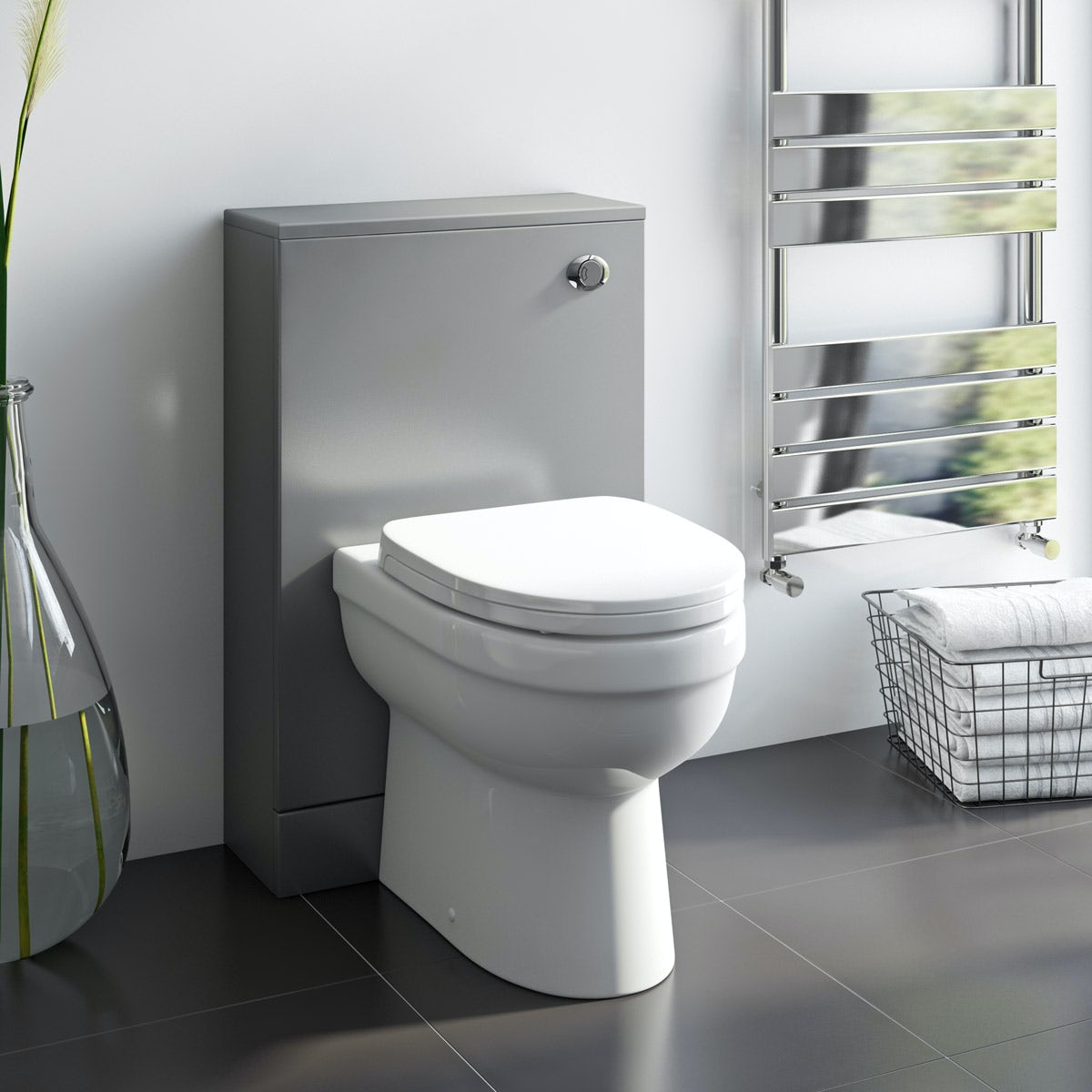 Orchard Derwent Stone Grey Back to Wall Unit and Eden Toilet with Soft Close seat