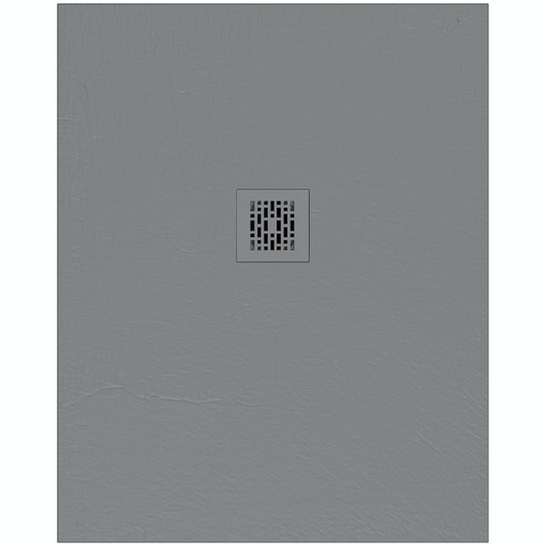 Mode slate effect grey rectangular shower tray with colour matches waste cover