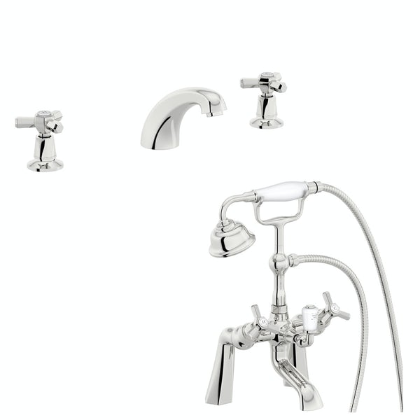The Bath Co. Beaumont 3 hole basin and bath shower mixer tap pack