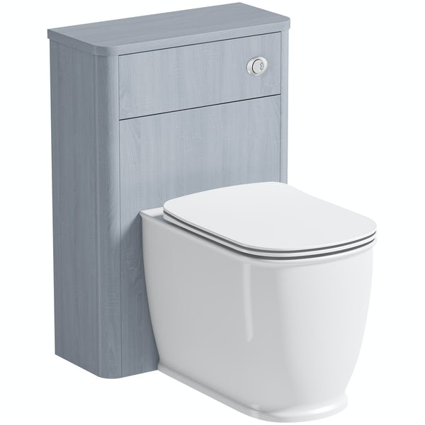 The Bath Co. Beaumont powder blue back to wall unit and toilet with seat