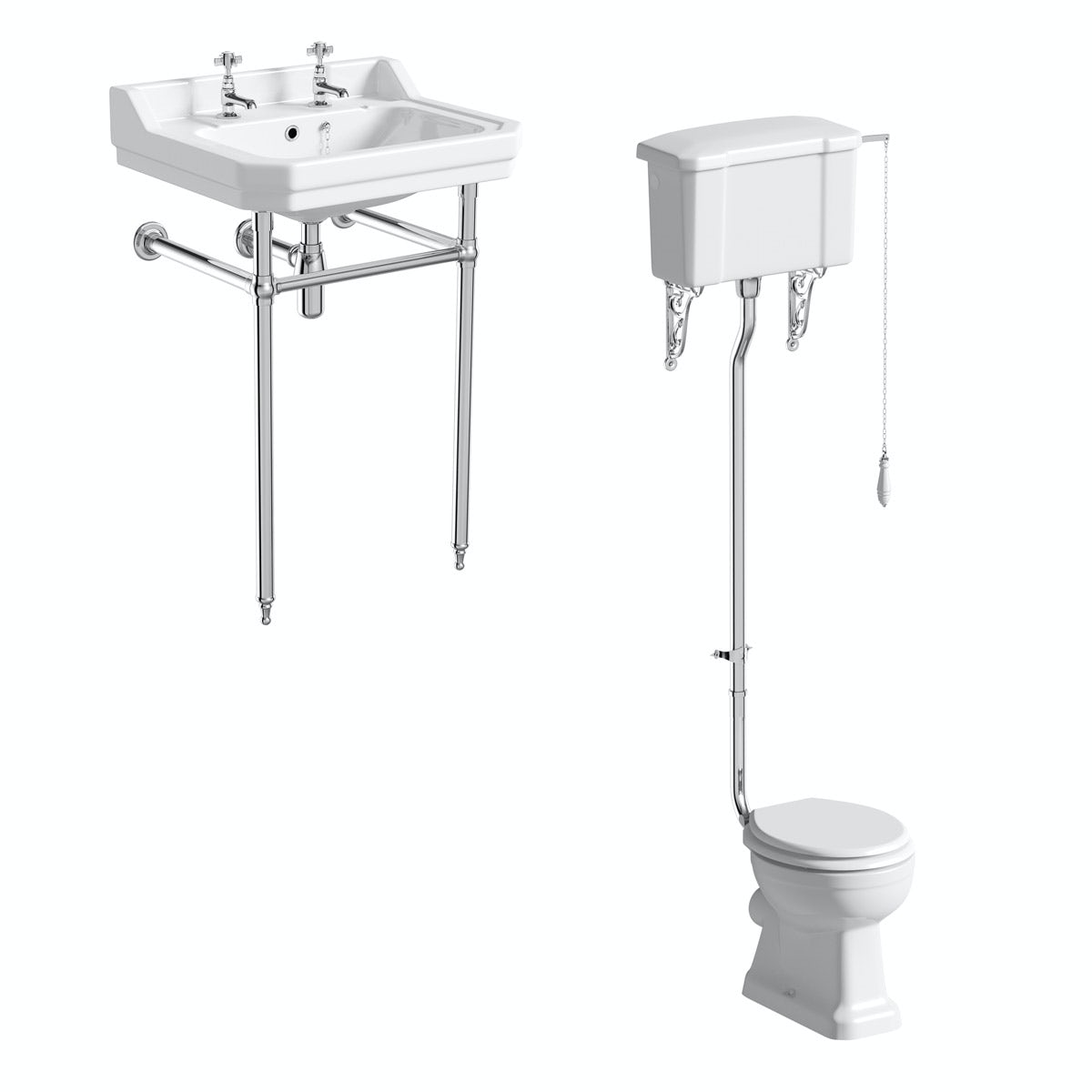 The Bath Co. Camberley cloakroom suite with high level traditional toilet with white seat, washstand and basin 610mm