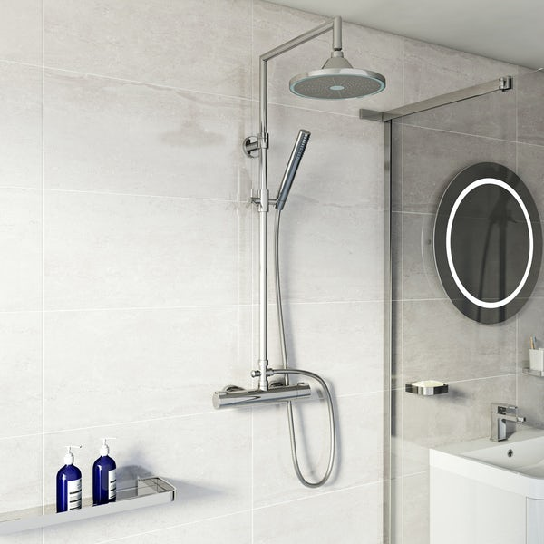 Mode Cool Touch square thermostatic exposed mixer shower with LED shower head