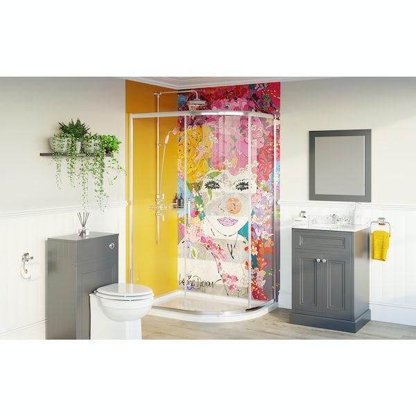 Louise Dear The Serenade Yellow bathroom suite with quadrant shower enclosure and tray