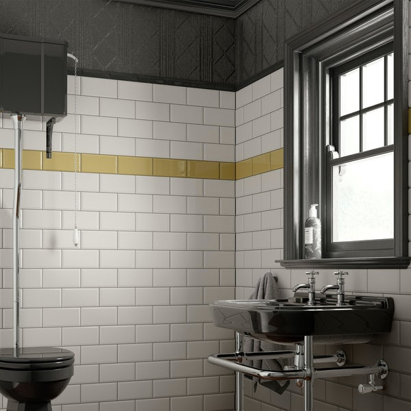 Deep Metro mustard bevelled gloss wall tile 100mm x 200mm