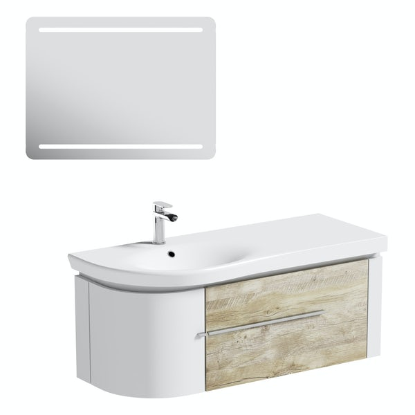 Mode Burton white & rustic oak wall hung vanity unit and basin 1200mm & LED mirror offer