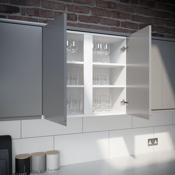 Schon Chicago light grey handleless double wall unit