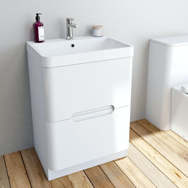 Mode Ellis white vanity drawer unit and basin 600mm
