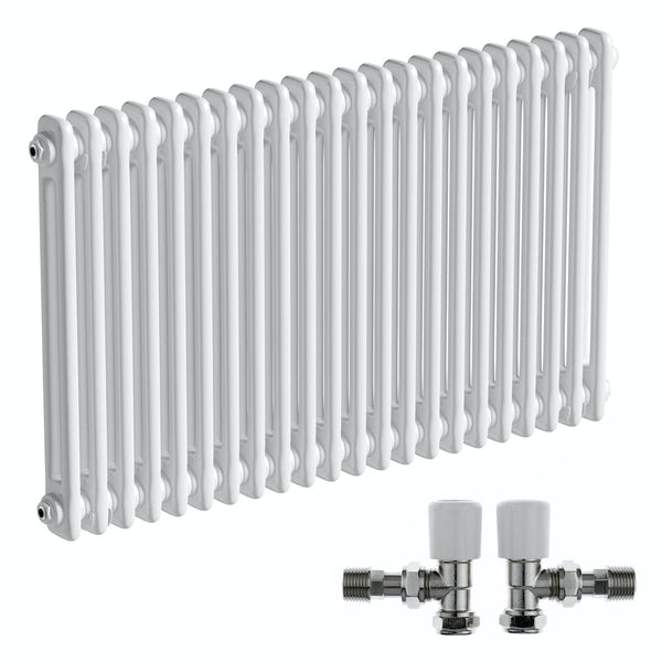 The Bath Co. Camberley white 2 column radiator 600 x 1014 with angled valves
