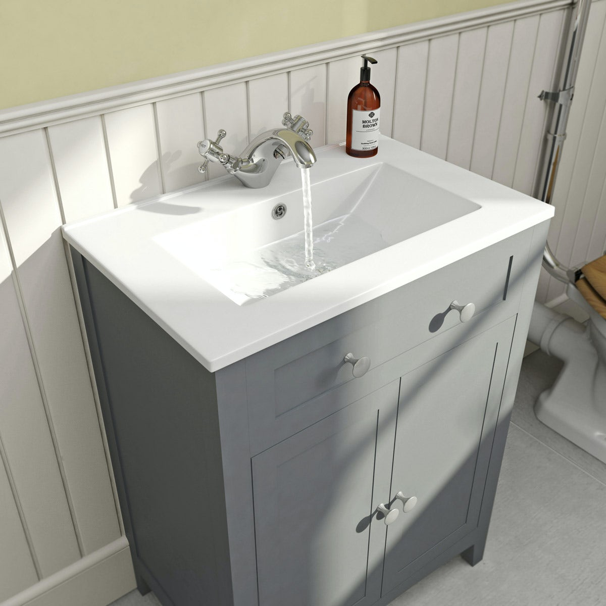 Camberley Satin Grey Vanity Unit With Basin 600mm