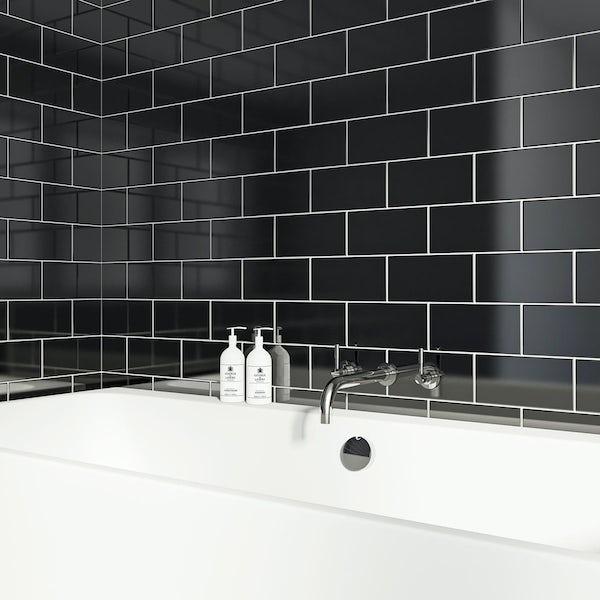 Flat gloss black brick tile 100mm x 200mm
