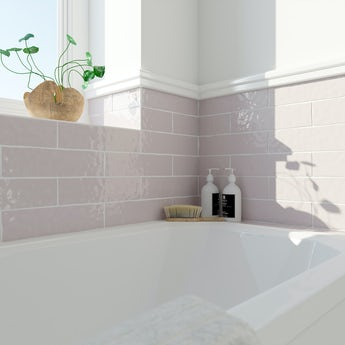 Laura Ashley Artisan amethyst pink gloss wall tile 75mm x 300mm