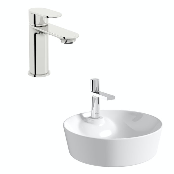 Accents Fairey round thin edge 1 tap hole countertop basin 450mm with tap