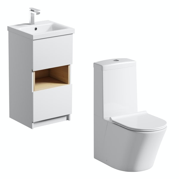 Mode Tate white & oak cloakroom suite with close coupled toilet