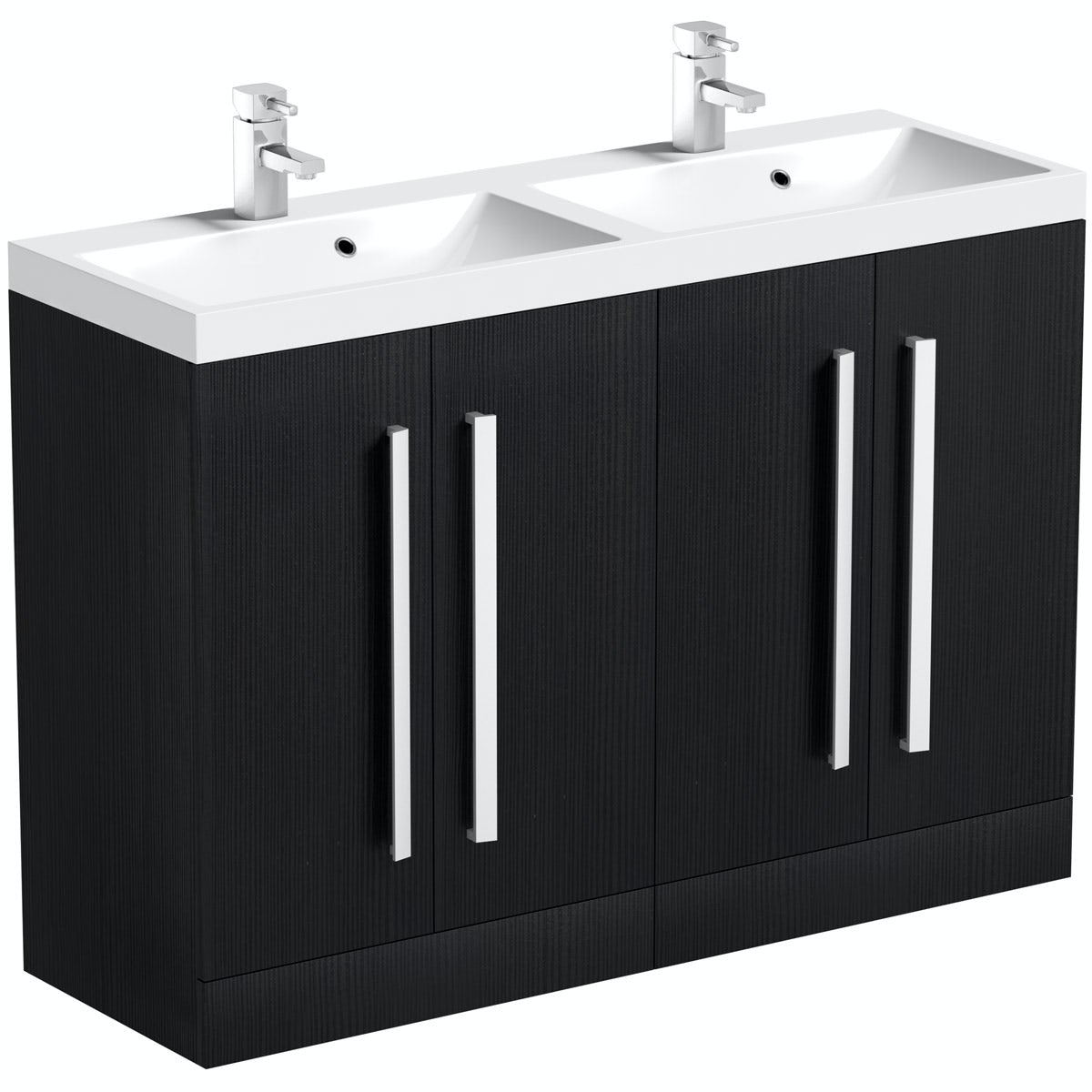 Orchard Wye essen black floorstanding double vanity unit and basin 1200mm