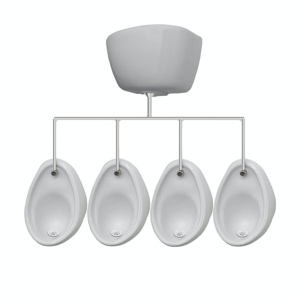 Kirke Curve complete top in exposed urinal 400mm pack for 4 bowls