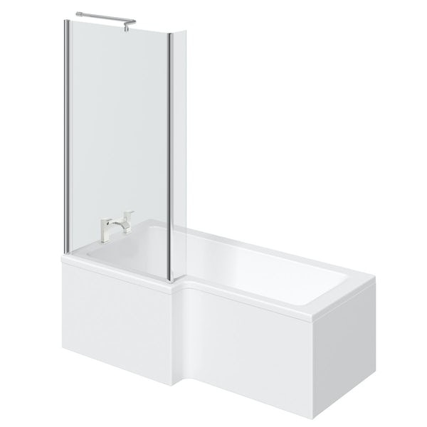 Orchard L shaped left handed shower bath with screen and bath mixer tap pack