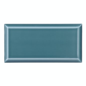 Deep Metro teal bevelled gloss wall tile 100mm x 200mm