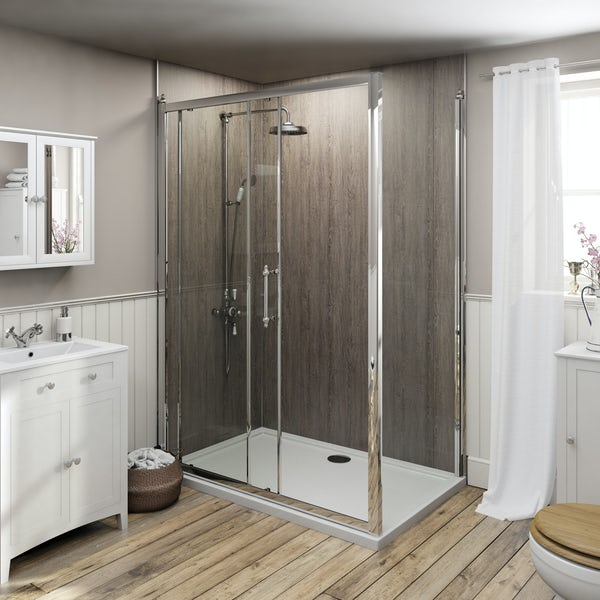 The Bath Co. 8mm traditional sliding shower enclosure with stone tray 1000 x 800