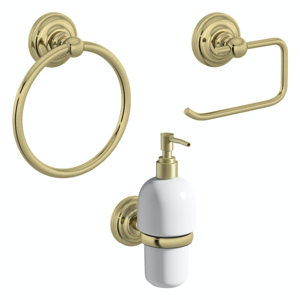 The Bath Co. 1805 gold 3 piece cloak room accessory set