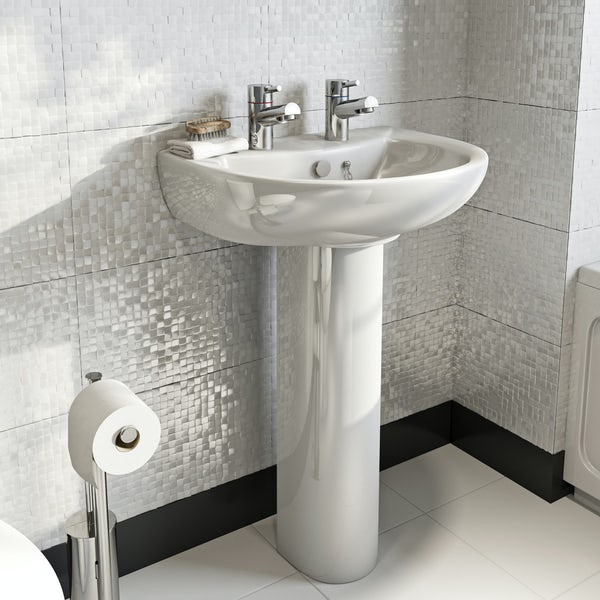 Orchard modern 2 tap hole full pedestal basin 550mm