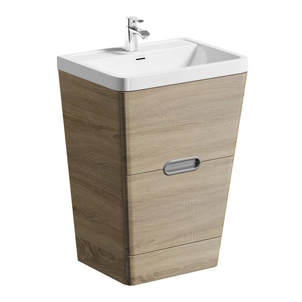 Sherwood oak 600 floor standing vanity unit and resin basin