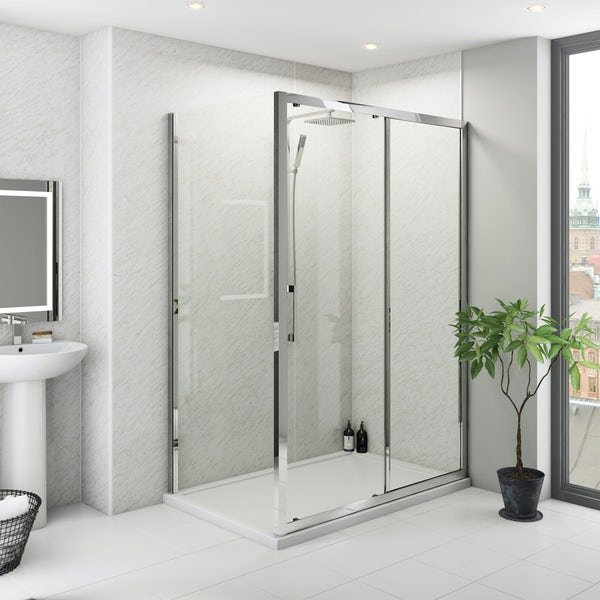 Multipanel Classic Grey Marble unlipped shower wall panel 1200