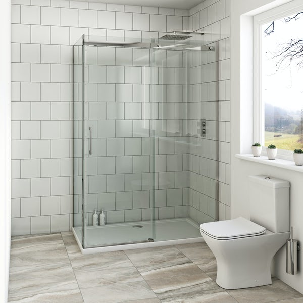 Mode Harrison 8mm easy clean rectangular shower enclosure with stone tray