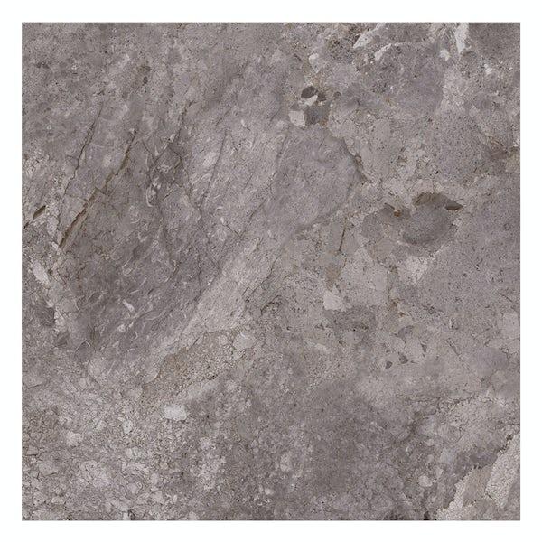 British Ceramic Tile Flint HD grey gloss floor tile 498mm x 498mm